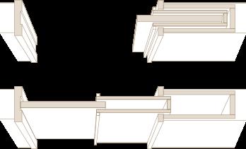 木製ドア 2連ポケット引戸を上から見た図